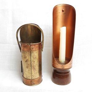 Vtg 70s  2 brass copper candle reflector holder